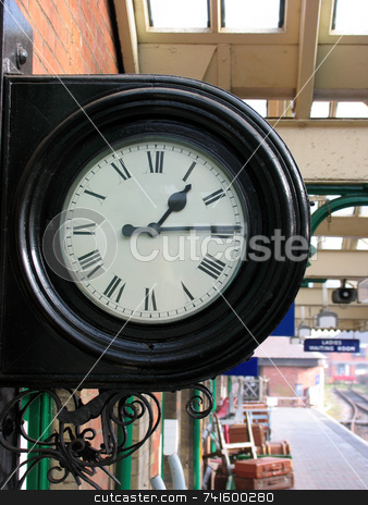Station Clock stock photo, An old train station clock by Paul Phillips