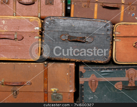 Suitcase background stock photo, A background of old suitcases by Paul Phillips