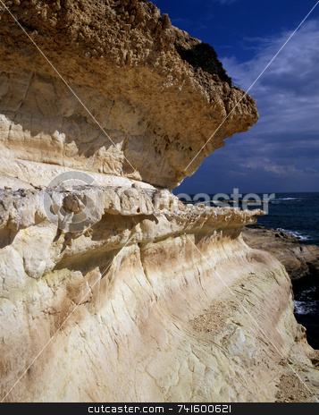 Erosion stock photo, Eroded limestone cliff face in northern Cyprus by Paul Phillips