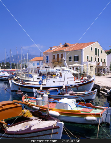 Fiskardo stock photo, The harbour at Fiskardo on the greek island of Kefalonia by Paul Phillips