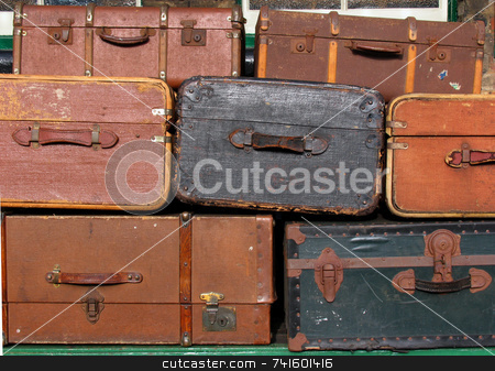 Old suitcases stock photo, A background of old suitcases by Paul Phillips