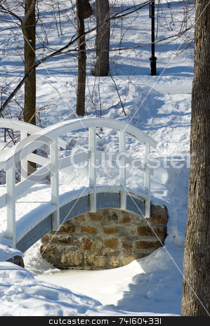 Winter Bridge stock photo, Little bridge crossing a pond covered with snow by Jean Larue-Frechette
