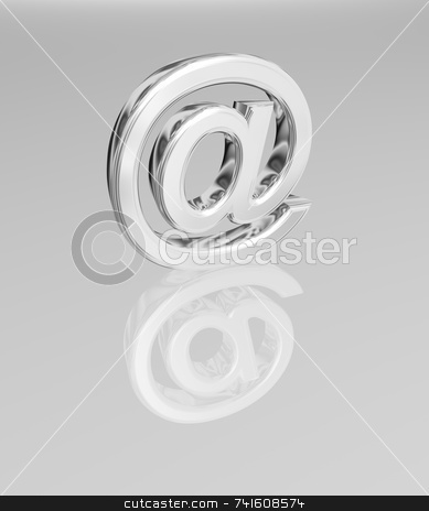 3D Email symbol stock photo, 3D render of an Email symbol made of chrome include a clipping path. by Jean Larue-Frechette