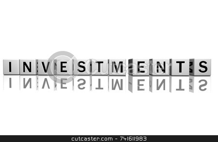 Dice white investments stock photo, Dice isolated on a white reflecting floor making the word investments by Jean Larue-Frechette