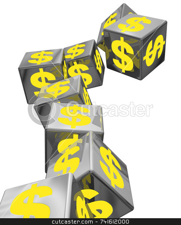 Falling blocks stock photo, An unstable pile of block with yellow money symbols falling down by Jean Larue-Frechette