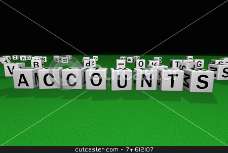 Dice accounts stock photo, Dice on a green carpet making the word accounts by Jean Larue-Frechette