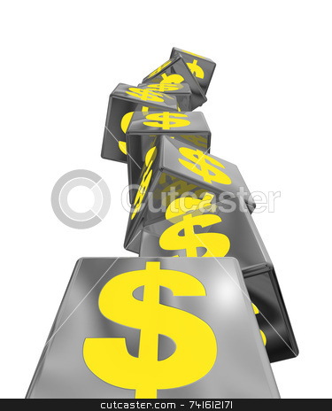 Stacked blocks  stock photo, An unstable pile of block with yellow money symbols by Jean Larue-Frechette