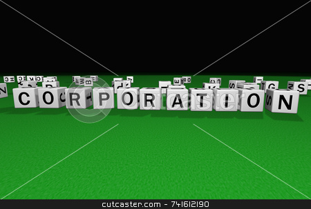 Dice corporation stock photo, Dice on a green carpet making the word corporation by Jean Larue-Frechette