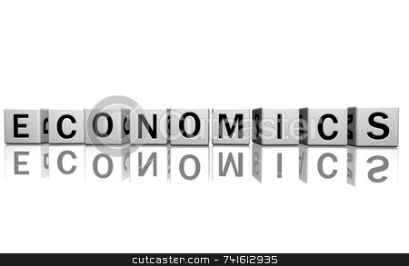 Dice white economics stock photo, Dice isolated on a white reflecting floor making the word by Jean Larue-Frechette