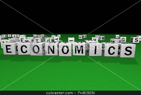 Dice economics stock photo, Dice on a green carpet making the word economics by Jean Larue-Frechette