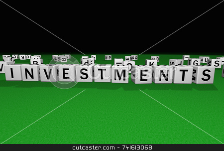 Dice investments stock photo, Dice on a green carpet making the word investments by Jean Larue-Frechette