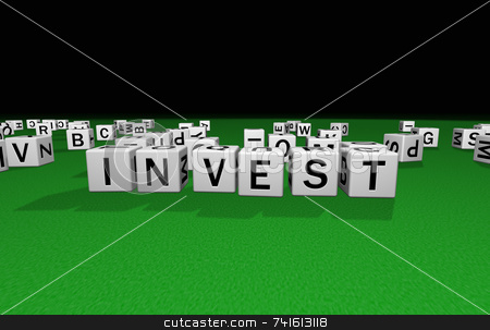 Dice invest stock photo, Dice on a green carpet making the word invest by Jean Larue-Frechette