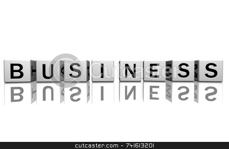 Dice white business stock photo, Dice isolated on a white reflecting floor making the word business by Jean Larue-Frechette