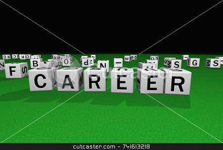 Dice career stock photo, Dice on a green carpet making the word career by Jean Larue-Frechette