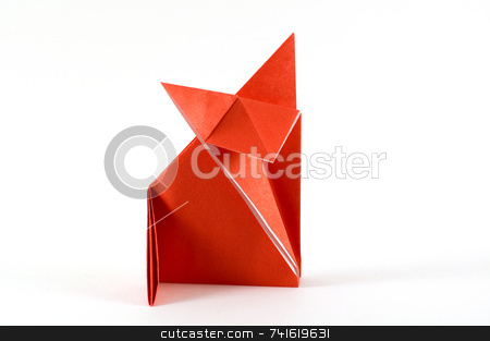 Fox folding origami stock photo, Origami folding  paper in the shape of a fox by Jean Larue-Frechette