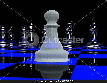 Blacklight chess 2 stock photo, Single pawn vs a full chess line-up by Jean Larue-Frechette