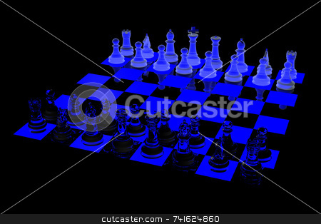 Glowing chess board stock photo, 3D Glowing Chess board with blue and black checker. Glass and frosted glass pieces. by Jean Larue-Frechette