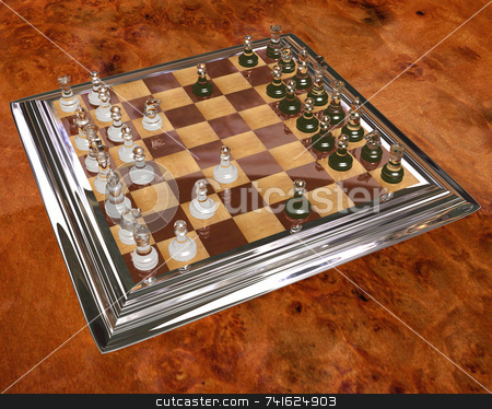 3D Chess Board stock photo, 3D render of a wood chess board with pieces by Jean Larue-Frechette