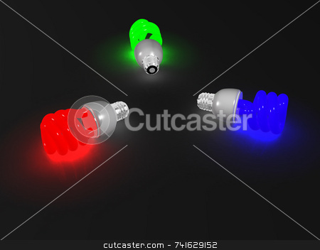 RGB Lightbulb stock photo, 3 compact fluorescent light, red, blue and green by Jean Larue-Frechette