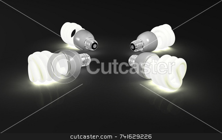 Four compact fluorescent stock photo, Four 3d environment friendly compact fluorescent light by Jean Larue-Frechette