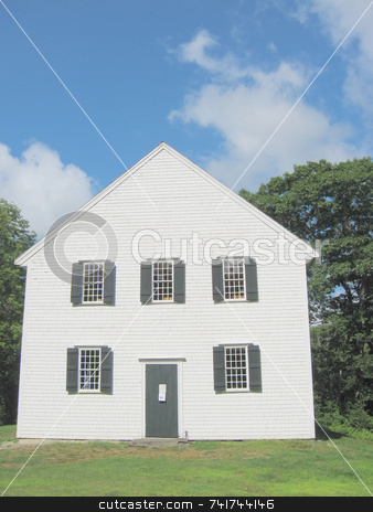 Old New England Meeting House stock photo, On a rural road, this old New England meetinghouse was built in 1772 by Tom and Beth Pulsipher