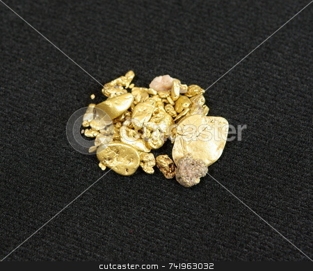 Gold Nuggets On Black stock photo, Many california gold nuggets on a black background. by Lynn Bendickson