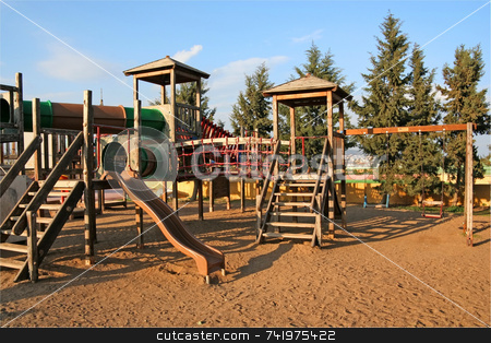 Children Playground stock photo, An empty children playground in the afternoon by Georgios Alexandris