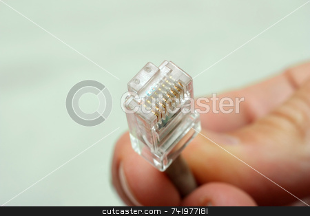 Holding a Network Connector stock photo, A hand holding the terminated end of a UTP Ethernet network cable by Georgios Alexandris