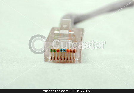 Network Cable Connector stock photo, An RJ-45 network connector at the end of a UTP Ethernet cable by Georgios Alexandris