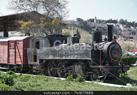 Old Locomotive stock photo, An old train locomotive in the city of Nafplio, Greece by Georgios Alexandris