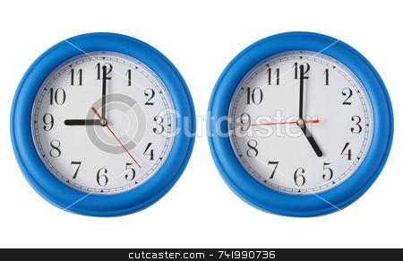 Working 9 to 5.  Two clocks, one on 9am and one on 5pm. stock photo, Working 9 to 5.  Two clocks, one on 9am and one on 5pm. by Stephen Rees