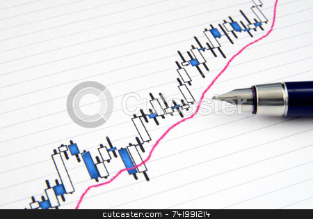 A Japanese candlestick stock chart. stock photo, A Japanese candlestick stock chart with shallow focus and a fountain pen. by Stephen Rees