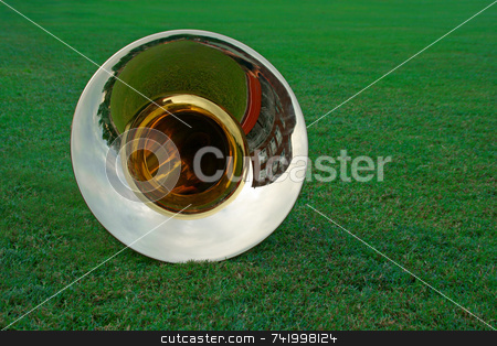 Tuba lying on the grass stock photo, As the marching band practices off to the side, a tuba is resting in the grass of the football field. by Mitch Aunger