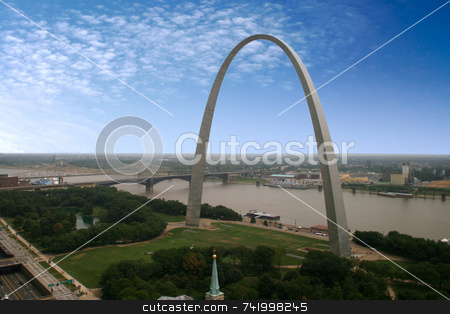 St. Louis Arch - the Jefferson National Expansion Memorial  stock photo, An interesting view of the Arch - Gateway to the West - the Jefferson National Expansion Memorial (U.S. National Park Service) by Mitch Aunger