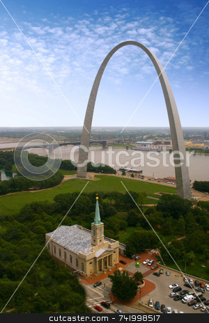 St. Louis Arch - the Jefferson National Expansion Memorial  stock photo, An interesting view of the Arch - Gateway to the West - the Jefferson National Expansion Memorial (U.S. National Park Service) - this vertical view also shows the church by Mitch Aunger