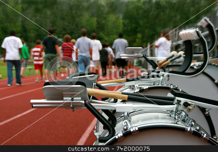 Marching Band Practice stock photo, A marching band practices on the high school track before a parade by Mitch Aunger