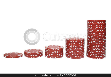 Poker chip stacks increasing in size. stock photo, Poker chip stacks increasing in size. by Stephen Rees