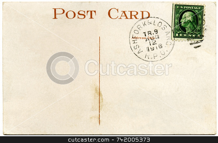 1916 US postcard and Franklin 1 cent stamp stock photo, 1916 US postcard and Franklin 1 cent stamp by Stephen Rees