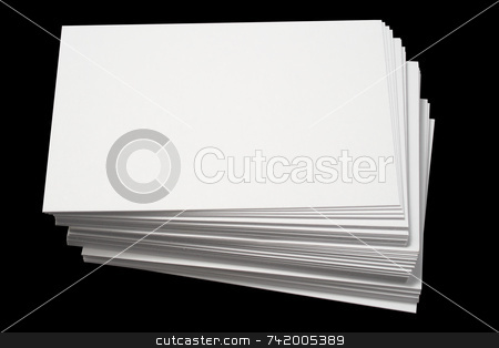 A stack of blank white business cards. stock photo, A stack of blank white business cards, isolated on a black background. by Stephen Rees