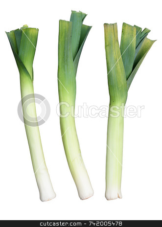 Three Welsh green leeks, isolated on a white background. stock photo, Three Welsh green leeks, isolated on a white background. by Stephen Rees