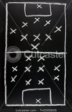 442 v 351.  Soccer formation tactics on a blackboard. stock photo, 442 v 351.  Soccer formation tactics on a blackboard. by Stephen Rees