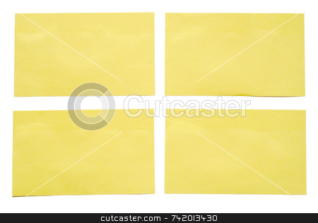 4 yellow notes stuck to a white background. stock photo, 4 yellow notes stuck to a white background. by Stephen Rees