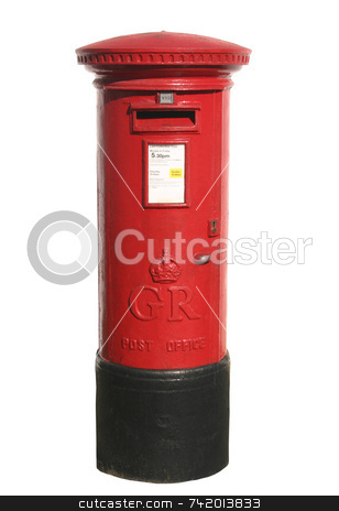 British red post box, isolated on a white background stock photo, British red post box, isolated on a white background by Stephen Rees