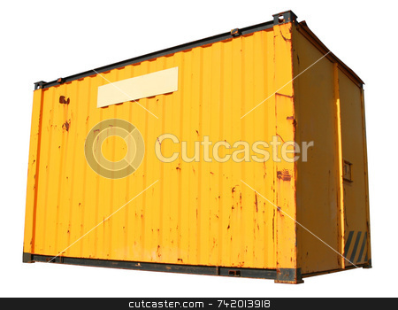 A yellow ship freight container, isolated on a white background. stock photo, A yellow ship freight container, isolated on a white background. by Stephen Rees