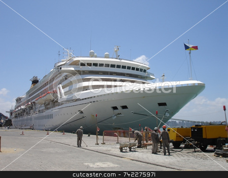 Cruise Ship stock photo, Cruise ship at dock. by Daniel Wiedemann
