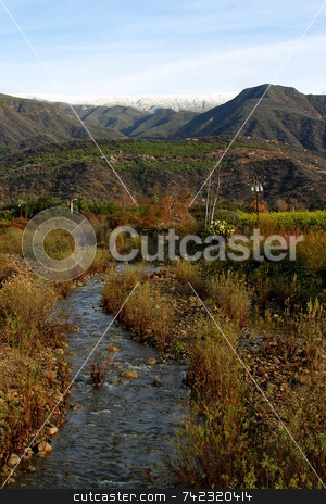 Ojai Valley XI stock photo, Landscape of the Ojai valley wit a creek by Henrik Lehnerer
