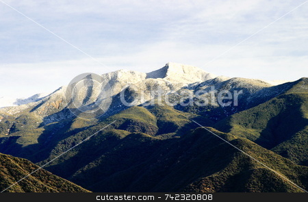 Ojai Valley With Snow VIII stock photo, Landscape shot of the Ojai valley with snow on the mountains. by Henrik Lehnerer