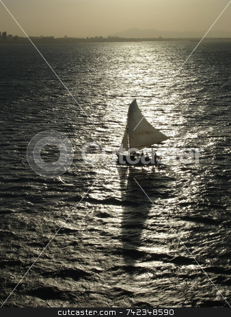 Sail Boat Silhouette stock photo, A sail boat silhouette. by Daniel Wiedemann