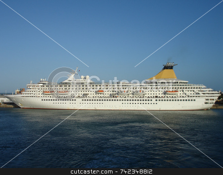 Cruise Ship stock photo, Cruise ship side view. by Daniel Wiedemann