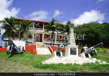 City Hall - Fernando de Noronha stock photo, Fernando de Noronha's city hall. A red building with cannons. by Daniel Wiedemann